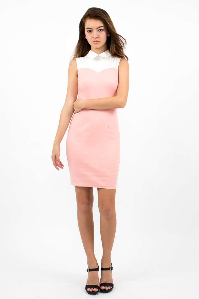Ambrosio Sweetheart Collar Dress - Candy Pink