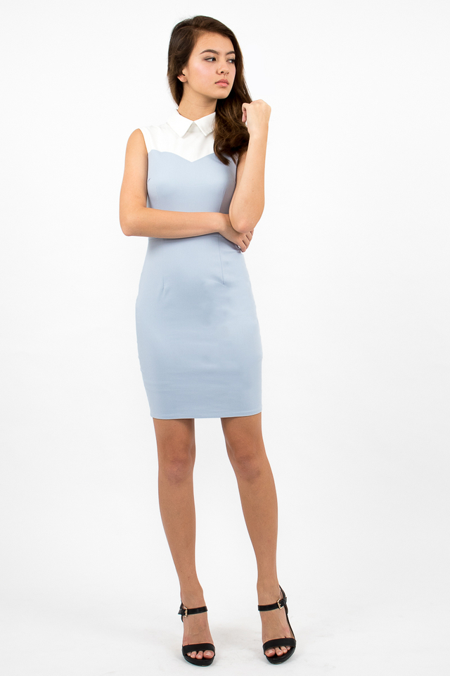 Ambrosio Sweetheart Collar Dress - Sky Blue