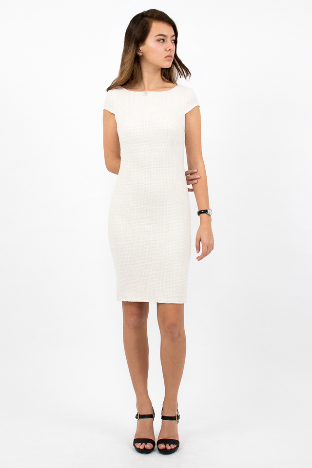 Marlowes Tweed Midi Dress - Cream/White