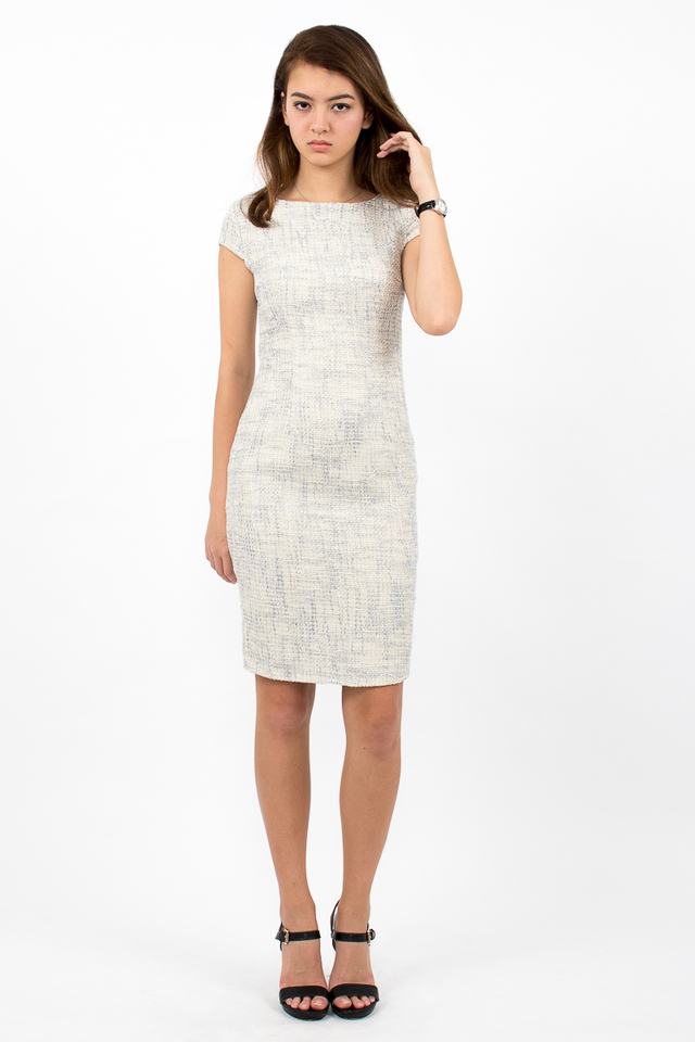 Marlowes Tweed Midi Dress - Cream/Grey