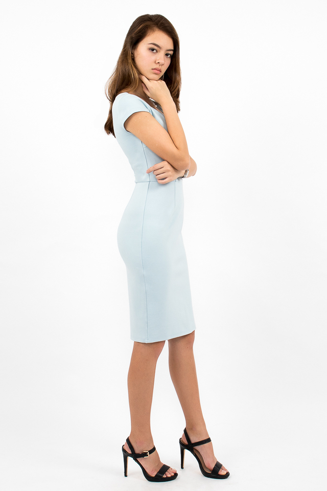 Maurizio Cap Sleeve Midi Dress - Sky Blue
