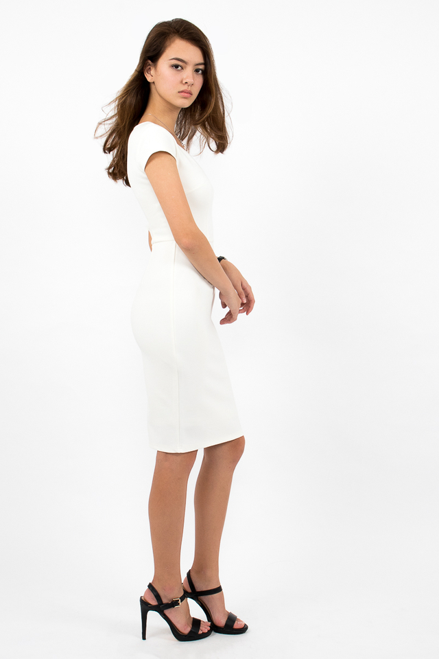 Maurizio Cap Sleeve Midi Dress - White