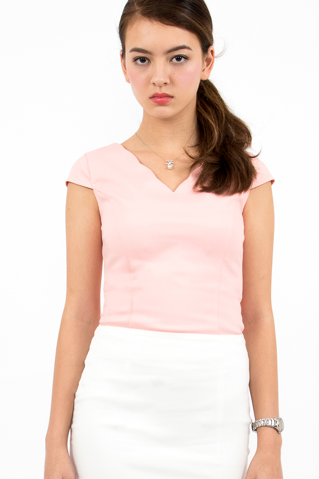 Reiley Scallop Hem Top - Blush Pink