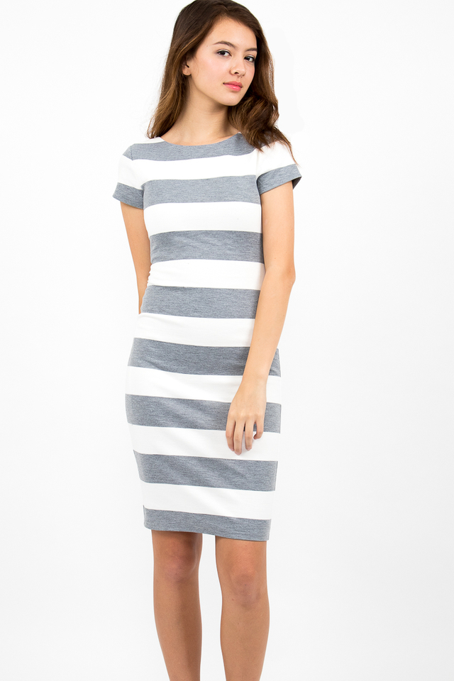 Malgosia Scoop Back Stripe Dress - White/Grey