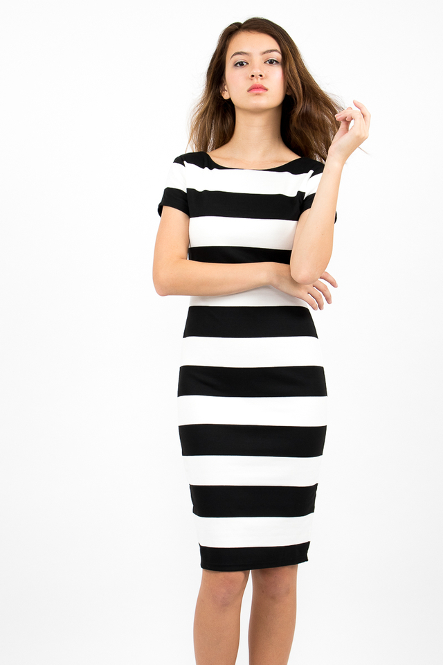 Malgosia Scoop Back Stripe Dress - White/Black