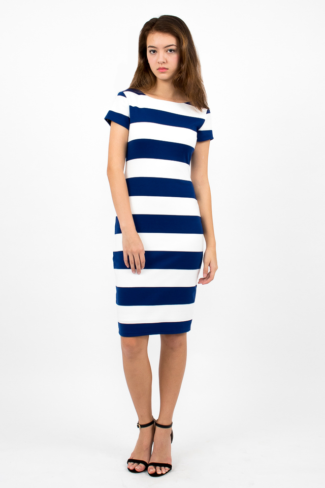 Malgosia Scoop Back Stripe Dress - White/Electric Blue