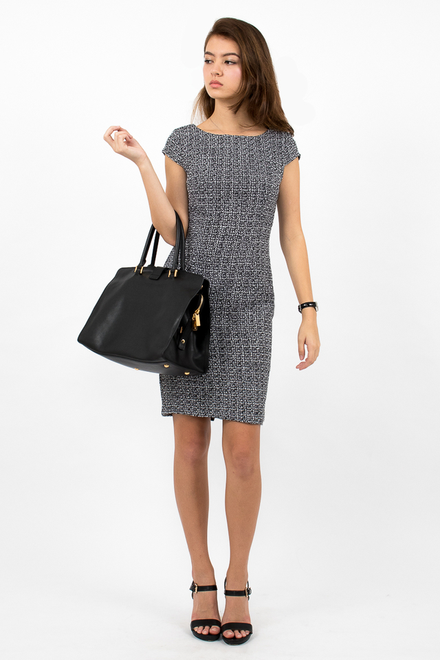 Marlowes Tweed Midi Dress - Black/White