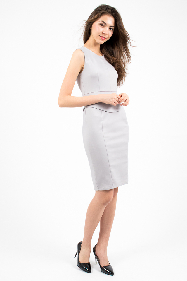 Genevieve Curve Hem Peplum Dress - Grey