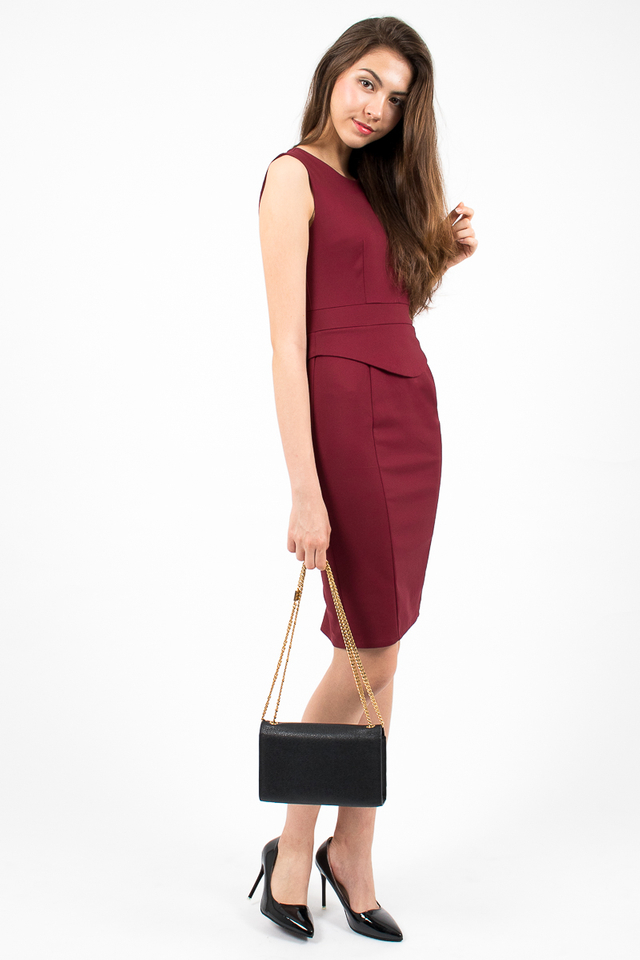 Genevieve Curve Hem Peplum Dress - Wine Red