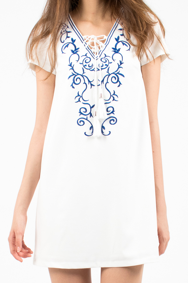 Hannah Embroidery Tee Dress - White