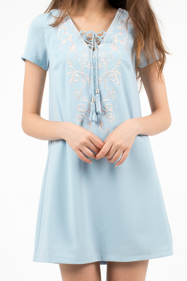Hannah Embroidery Tee Dress - Sky Blue