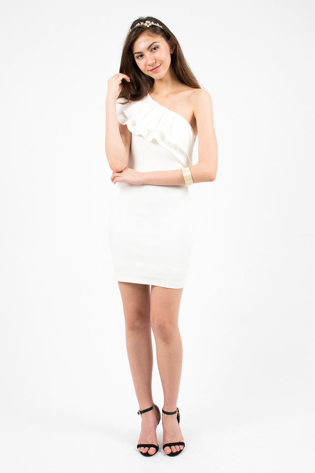 Alessandra Ruffle Toga Dress - White