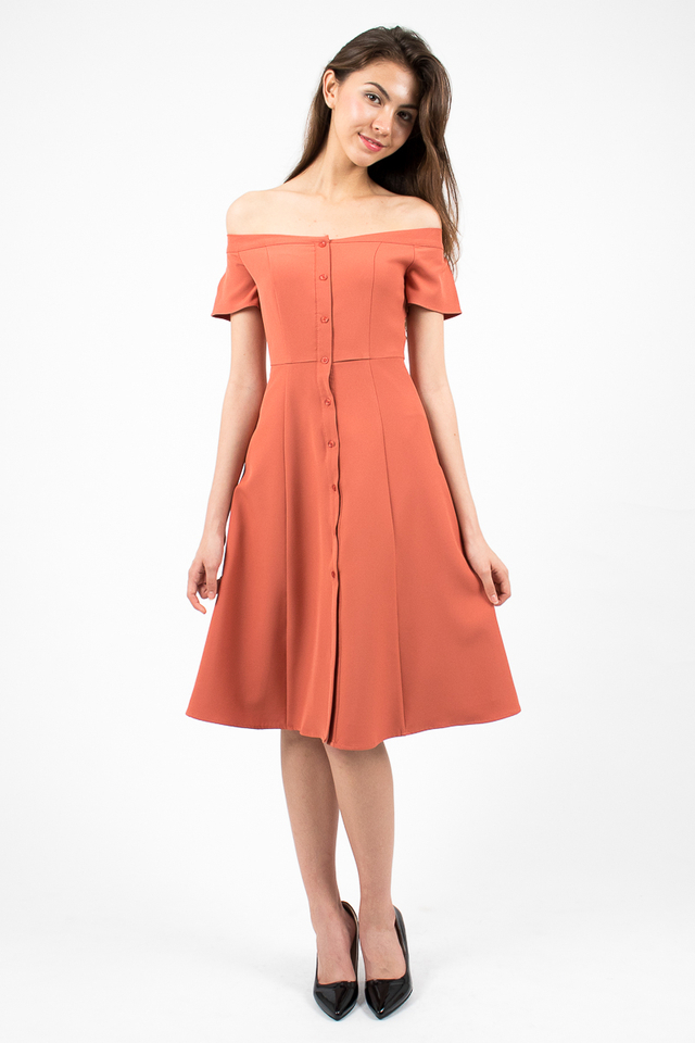 Heidi Off-Shoulder Button Midi Dress - Coral