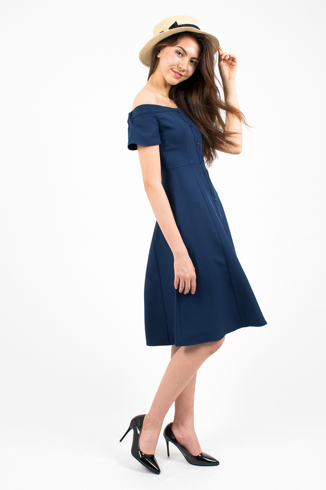 Heidi Off-Shoulder Button Midi Dress - Navy