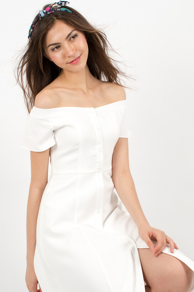 Heidi Off-Shoulder Button Midi Dress - White