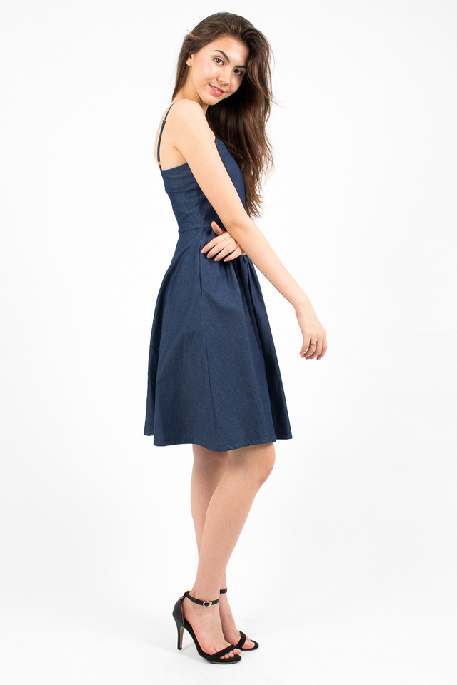 Vivienne Sweetheart Denim Dress - Dark Blue
