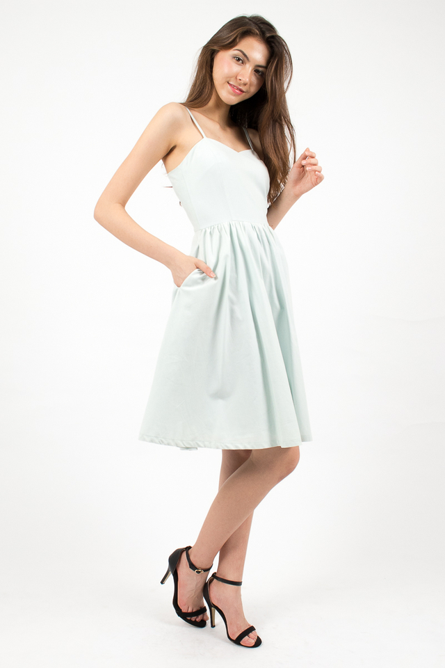Vivienne Sweetheart Denim Dress - Sky Blue