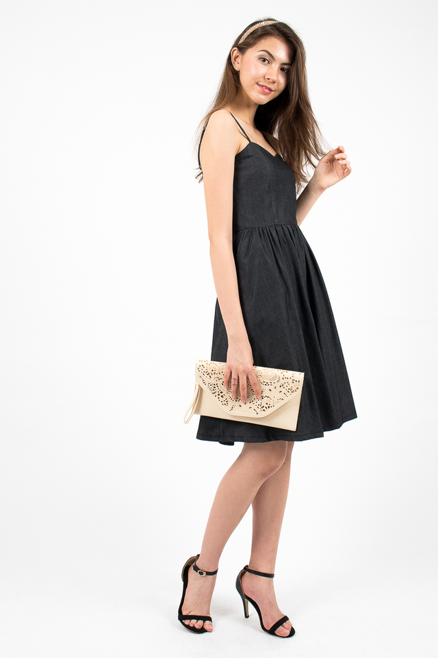 Vivienne Sweetheart Denim Dress - Black