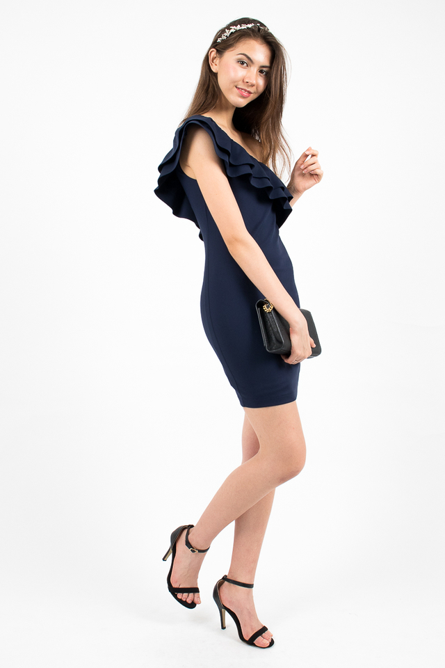 Alessandra Ruffle Toga Dress - Navy