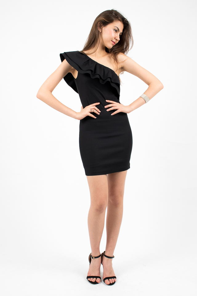 Alessandra Ruffle Toga Dress - Black