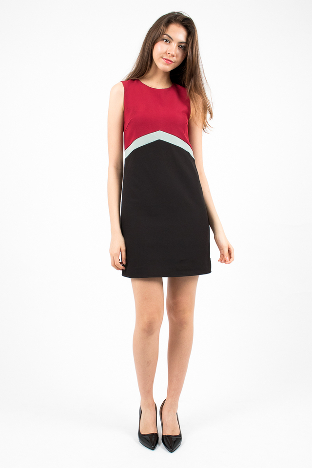 Lola Tri-Band Shift Dress - Wine/Green