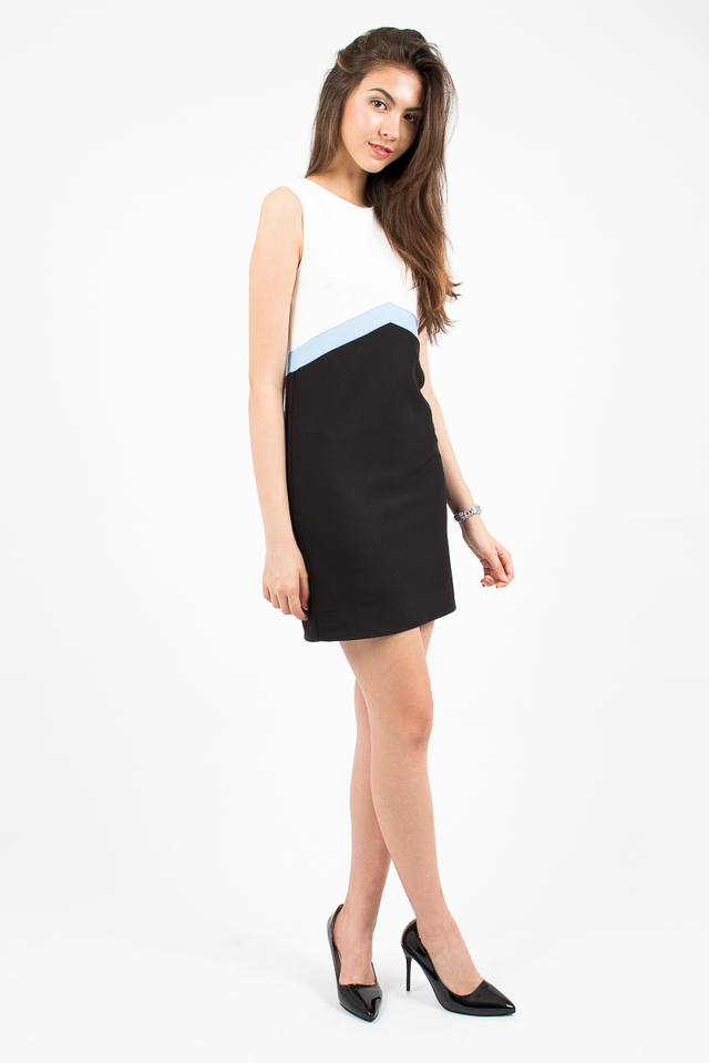 Lola Tri-Band Shift Dress - White/Blue
