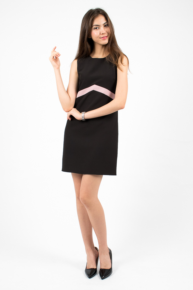 Lola Tri-Band Shift Dress - Black/Pink
