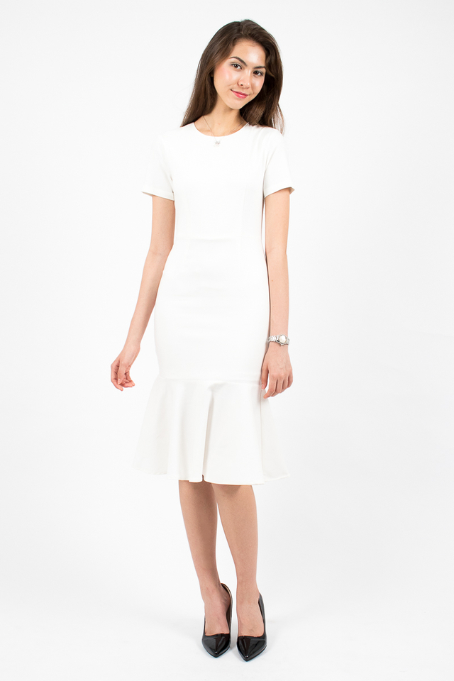 Middleton Mermaid Hem Dress - White
