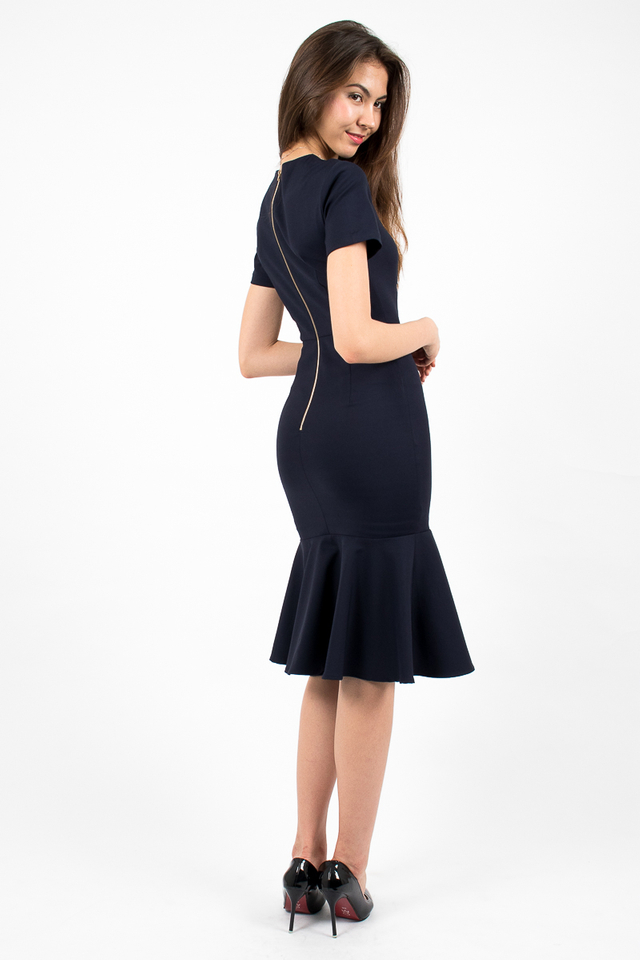 Middleton Mermaid Hem Dress - Navy