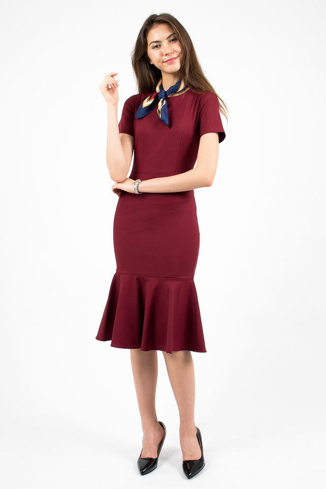 Middleton Mermaid Hem Dress - Burgundy