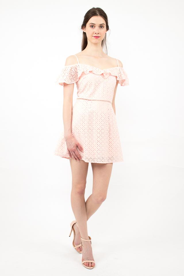 Elena Spag Eyelet Skirt Romper - Pink