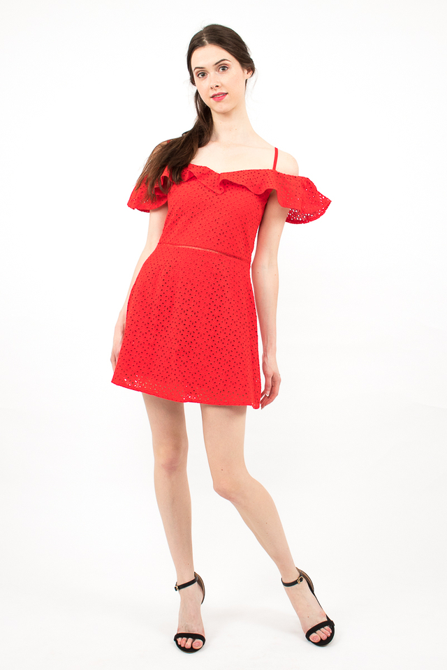 Elena Spag Eyelet Skirt Romper - Red