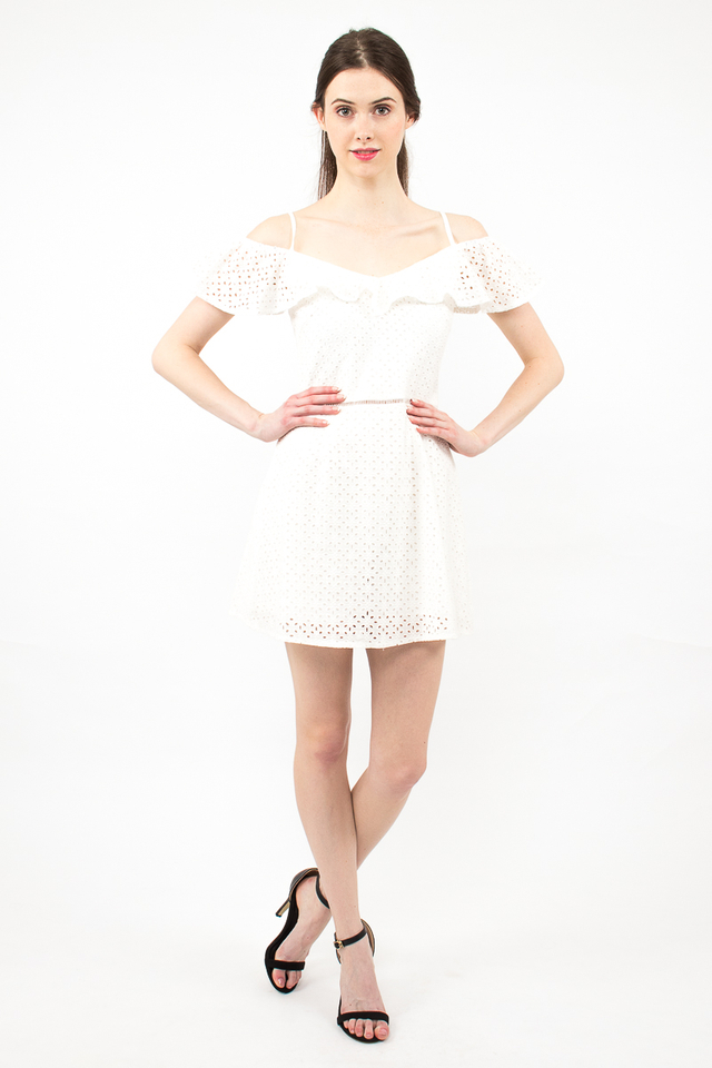 Elena Spag Eyelet Skirt Romper - White