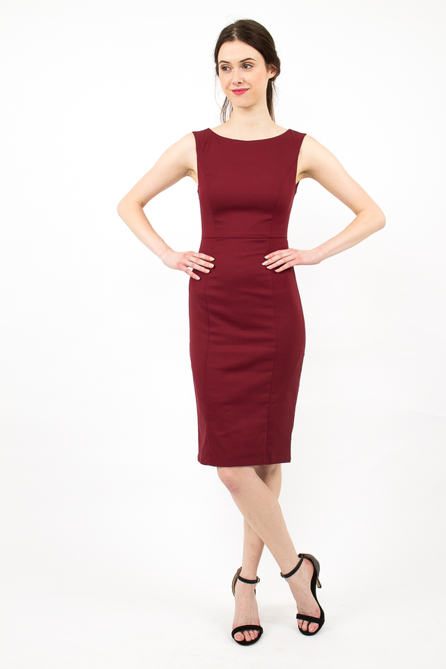 Audrey Classic Boat Neck Midi Dress - Burgundy