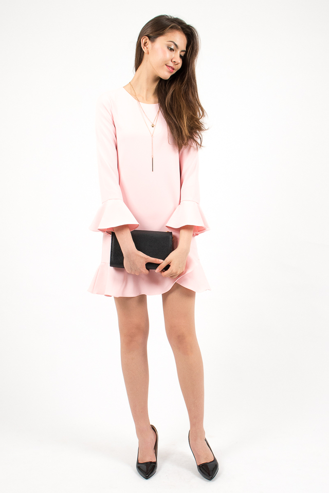 Elsa Bell Sleeve Shift Dress - Blush Pink